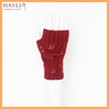 Christmas wine red dark red women hollow pattern crochet mittens