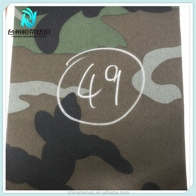 49# All stock Poly oxford woodland camouflage fabric with PVC backing