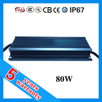 5 years warranty CE RoHS TUV SAA UL approved waterproof LED power supply 80W 36V 2400mA
