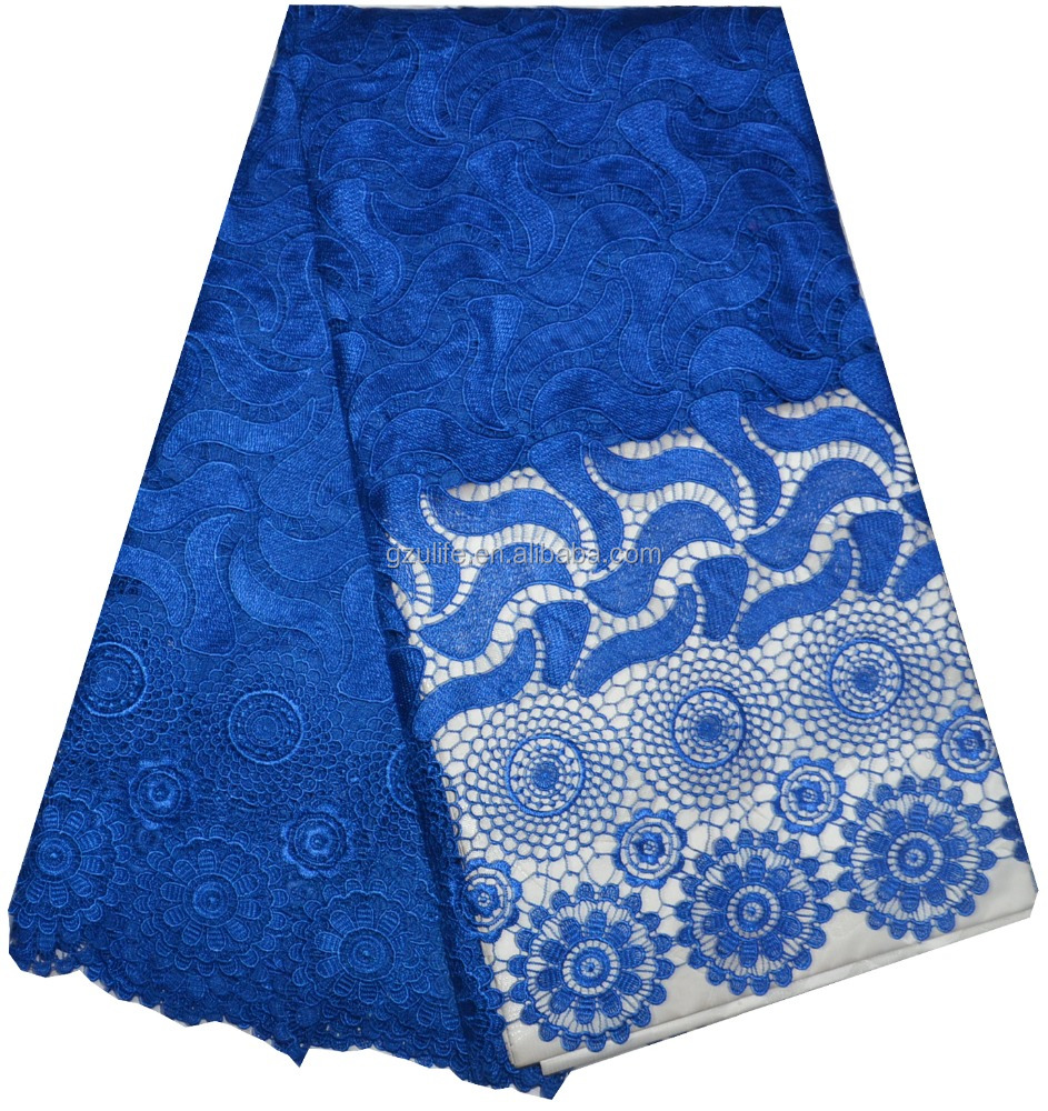 high quality 2015 top one wholesale cord lace royal blue/Guipure Lace Fabrics for wedding dresses(W2258)