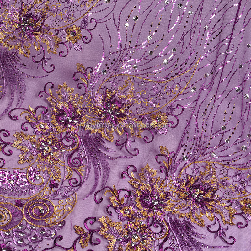 Purple wedding chemical lace sequin embroidery fabric FB0009