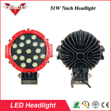 "RED Black Round LED light 7"" inch Work off road 51w led work truck light headlight"