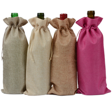 Custom promotional cheap single linen wine bottle jute drawstring bag for wine