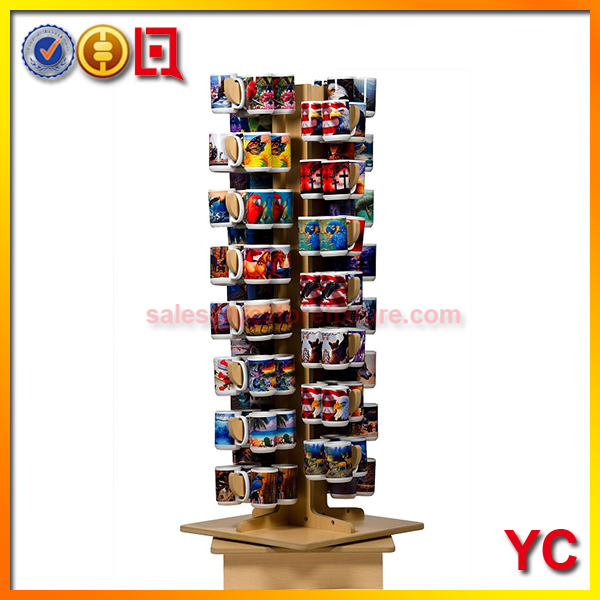 Wood Rotating Counter top Coffee mug display rack