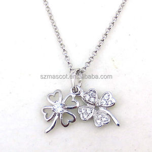 Latest Meaningful Sterling Silver 925 Crystal Four Leaves Clovers Necklace Jewelry
