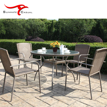 Bistro Restaurant Terrace Outdoor Furniture Round Wicker Rattan Dining Table and Chair Set