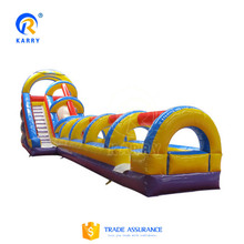 top quality inflatable dry slide with long lane slip crush for fun