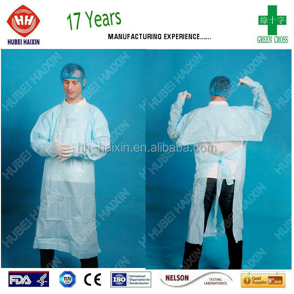 Disposable Blue CPE Apron Gown With Long Sleeves, Waist Ties