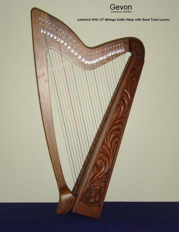 Gevon Rosewood Irish Celtic Harp | 27 strings with levers | Limerick H10