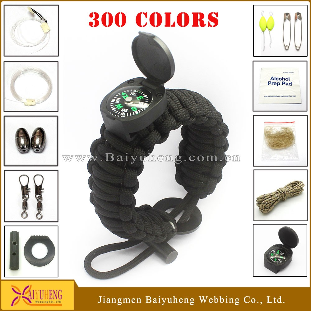 camping gadget paracord bracelet compass /survival knife with fire starter