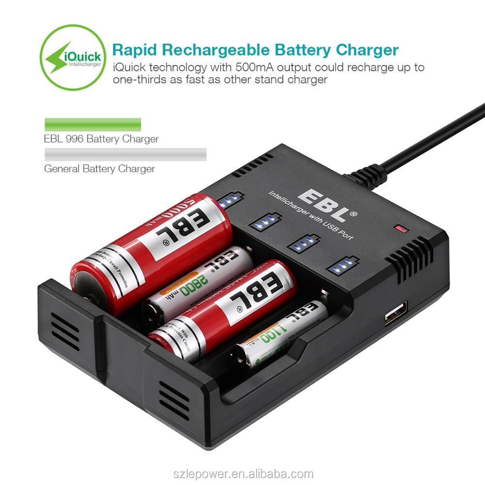 EBL Multifunction 18650 Rechargeable Battery Charger 2 Slot with Micro USB Output Phone Charger