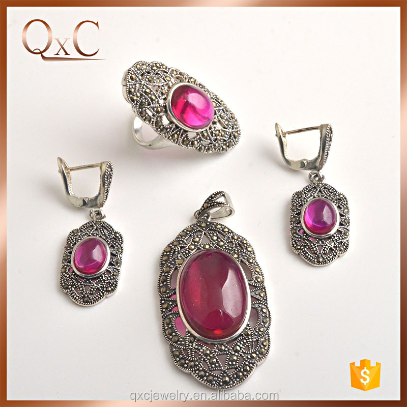 New exclusive design thai silver jewelry sets duplicate jewelry