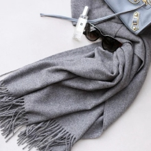 High quality custom winter warm knitted cashmere scarf wool feeling shawl with fringe/tassel