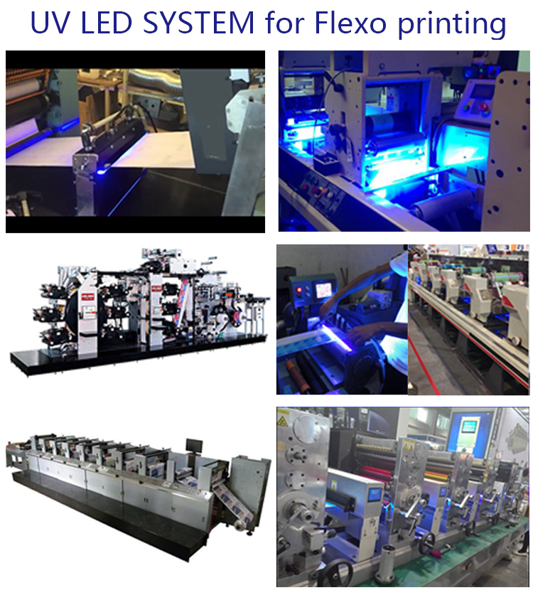HTLD high intensity led uv curing system for narrow web flexo printer