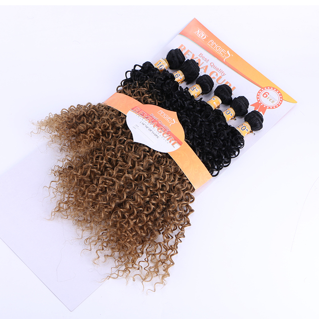 16-20 inch 6pcs/lot Afro curl 1b 27 two tone synthetic hair weave one pack for full head synthetic hair weft