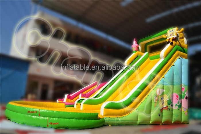Customized inflatable spongebob water slide with pool