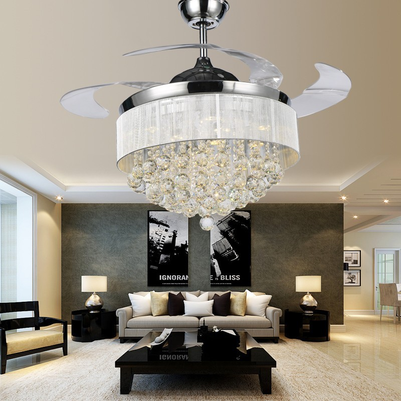 New Product Super Luxury Crystal Ceiling Fan Lamp Invisible Fan Blades Crystal Chandelier - Buy ...
