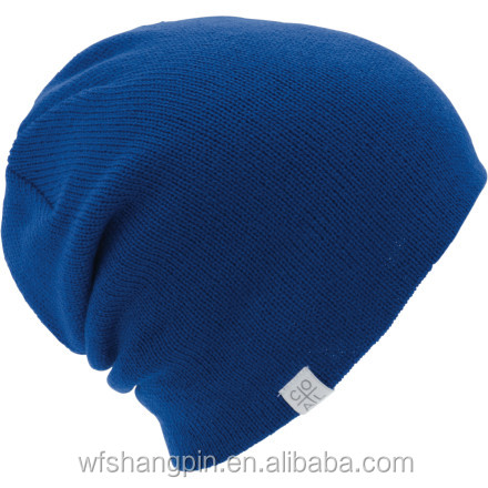 Wholesale Royal Blue Color Custom Woven Label Logo Beanie Winter Hat for Men and Woman
