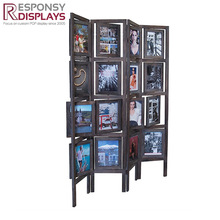 wooden floor standing post card and painting display stand