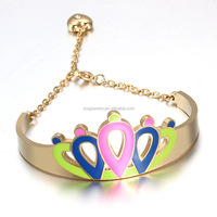 Newest Designs Gold Plated Stainless Steel Crown Shape Bracelet Anklet for Women