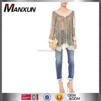 Wholesale Smock Crochet Top New Elegant Lace Top Sexy Chiffon Brown Blouse