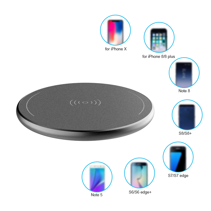 QI Ultra-thin Aluminum mobile cell phone stand pad wireless charger receiver