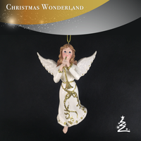 Resin white wings music Angel for christmas decoration