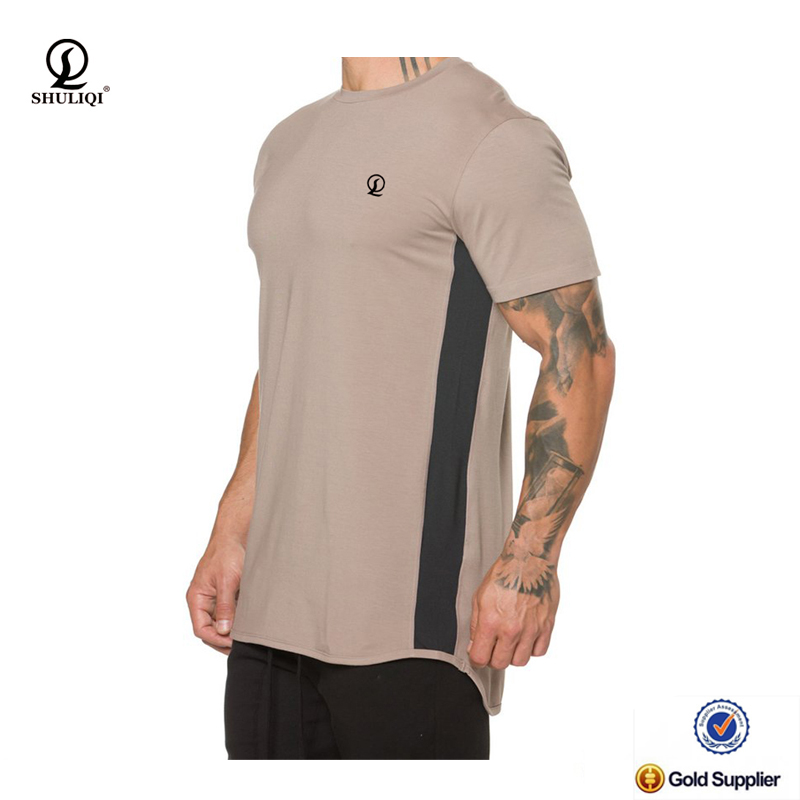 High-class breathable cotton T-shirt underarm dry fit mesh panelcurved back bottom athletic short sleeves skin fit mens t shirt