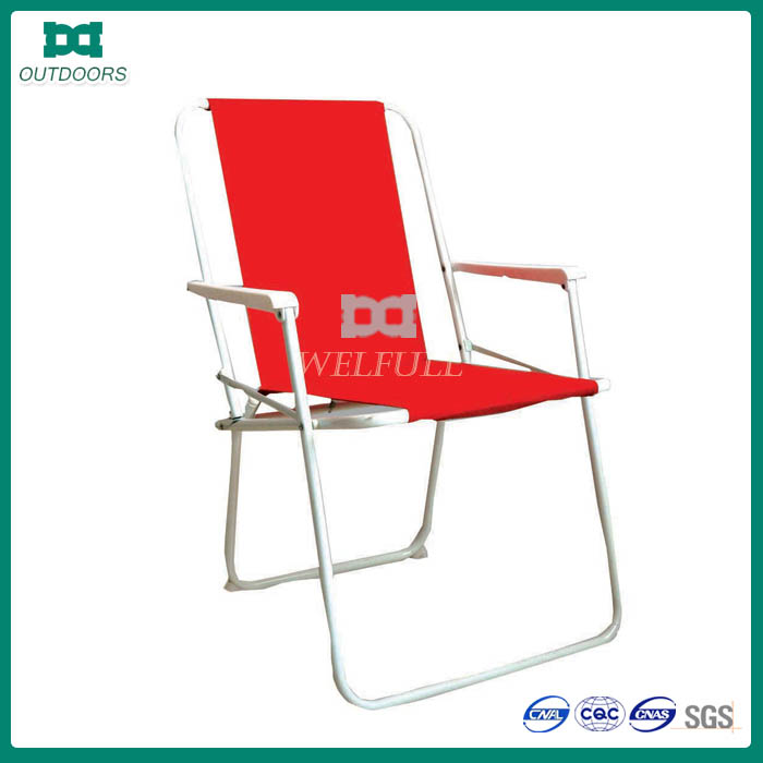 Spring steel padded folding camping chair