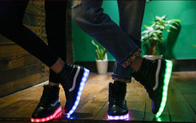 light up adult shoes Big size 44 led shoes young men and women couple light shoes