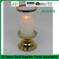 Wedding table and room glass candle holder with golden stailess steel holder CH-31723