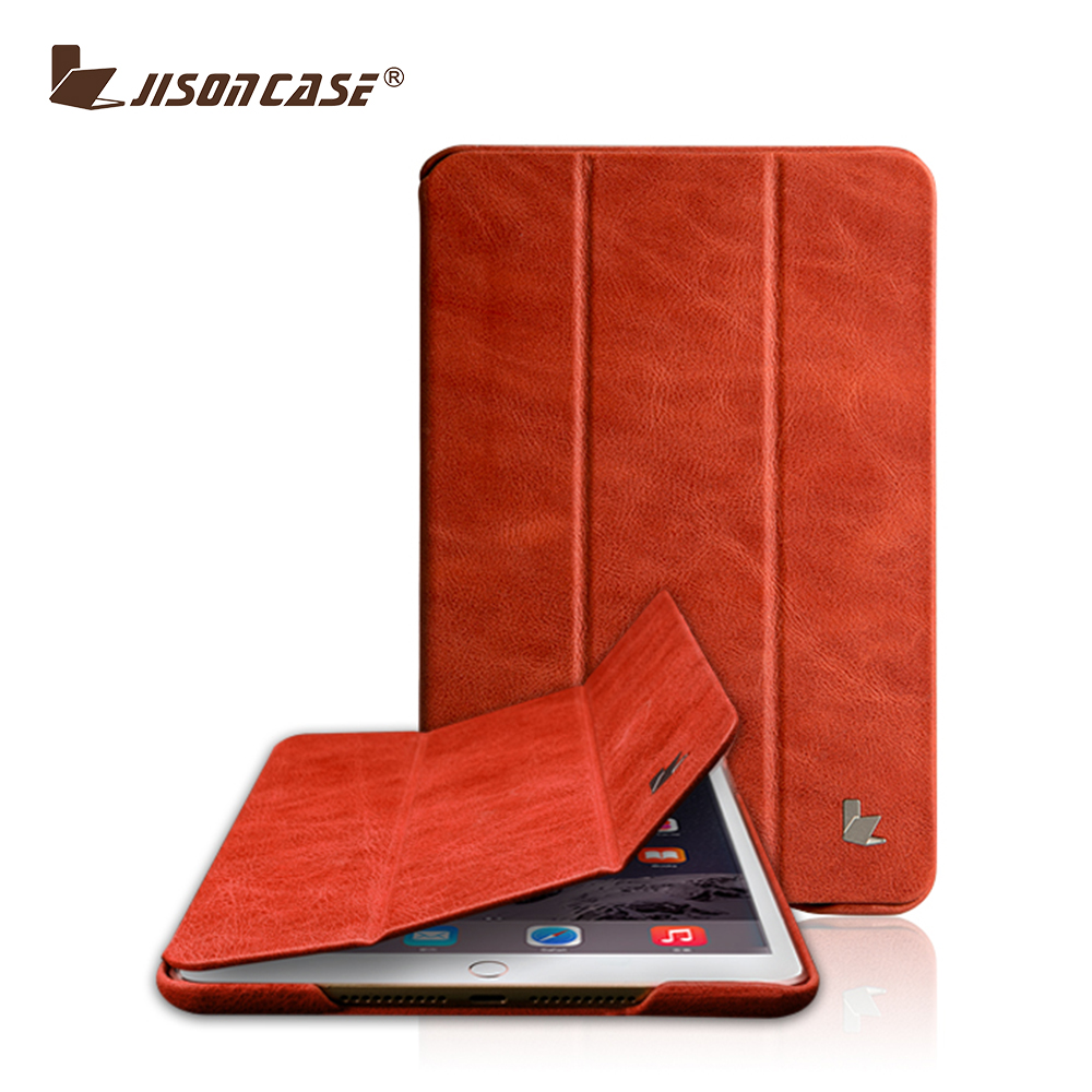 Jisoncase New design Stand genuine Leather Case for iPad Mini 4 leather case cover