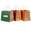 Wholesale Custom Printing Eco Friendly Recycle Plain Take Away fast food Shopping Big Kraft Paper Bag With Paper Handles