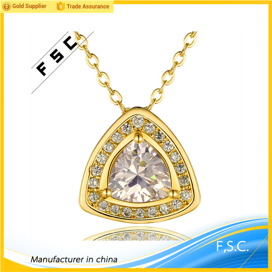 Hot sale classic yellow gold plated newest design chain geometrical shape cz pendant copper necklace