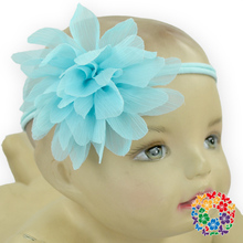 2015 Fashion Girl Baby Toddler Chiffon Posh Fluffy Lightblue Flower Infant Headband Hair Band Accessories