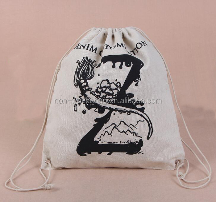 Customized printed drawstring cotton bag, draw string sports gym bag for athletes