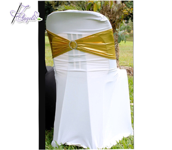 white spandex Miami chair covers with gold band for plastic Miami chairs