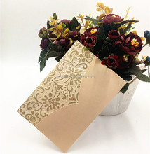 2017 Chinese Latest Designs Luxurious Laser Cut Lace Wedding Envelope Invitations Card