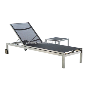 Aluminum frame sling beach lounge chair with side table furniture