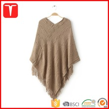 Ladies european style fashion knitted poncho pattern