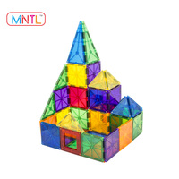 Educational 60pcs magnetic clear tiles plastic magnetic blocks building for kids CPSC, CE, EN71, ASTM