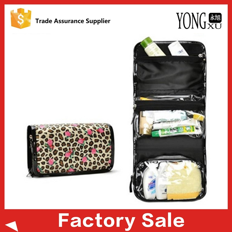 Organizer Hanging Travel Toiletry Bag, leopard polyester foldable travel bag, folding makeup case
