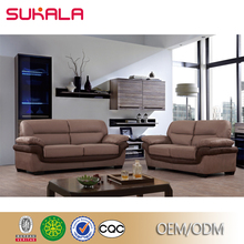 Design hotel lobby restaurant leather and fabric hotel sofa sets