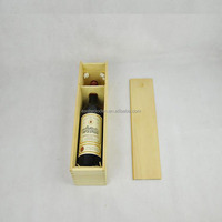 Pine wine box wooden box the latest packaging for single bottle, unfinished wooden wine boxes for sale