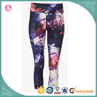 Wholesale Glaxy print workout activewear girl sports compression tight crop legging pant