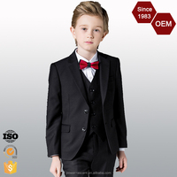 OEM Custom Design High Quality Classic Fit Boys Black Dress Suits