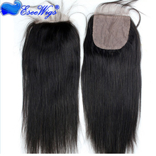 Top quality Brazilian virgin human hair silk based 4x4 lace closure with baby hair