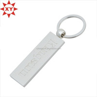 wholesale regutangular plated silver zinc alloy metal key chains
