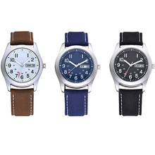 Luminous Hands Mens Boys Canvas Leather Strap Custom Personalized Watches