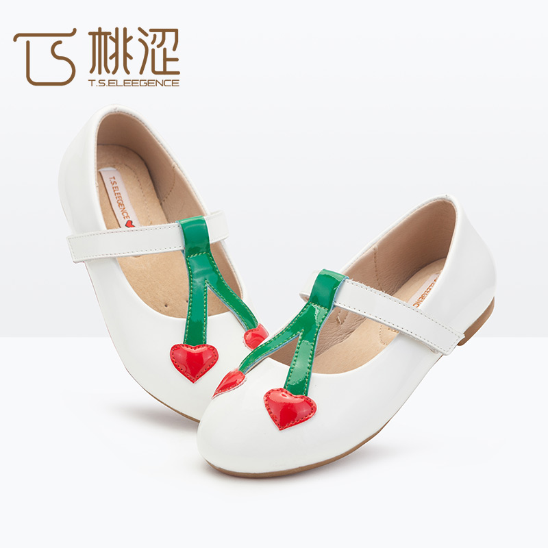Wholesale Stock Cheap Shop Shoes Online Cow Leather Girls Cherry T Strip Buckle Strap Flats Shoes